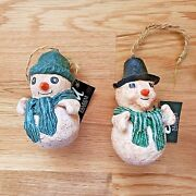New Primitive Snowman Christmas Ornament Set Of 2 Festive Teal Scarf Country