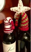 4 Vintage Pottery Barn Holiday Wine Toppers Used In Display Home