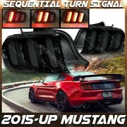 For 15-up Mustang S550 Euro Style Smoked Led Tail Lights Sequential Turn Signal