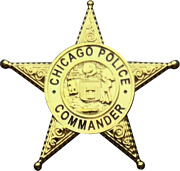 Chicago Police Department Star Lapel Pin Commander
