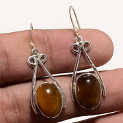 Natural Brazilian Tiger Eye Earrings 925 Sterling Silver Handcrafted Jewelry New
