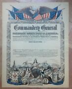Commandery General Patriotic Order Sons Of America 19th Century Antique Litho