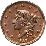 1837 N-10 Pcgs Ms 63 Bn Head Of 38 Matron Or Coronet Head Large Cent Coin 1c