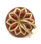 Large Modern Sculptural 18k Carnelian And 1.10 Carats Flower / Floral Diamond Ring