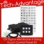 12v Boat Motorhome Caravan 6 Gang Led Backlit Touch Momentary Switch Panel Kit