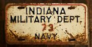 Vintage Indiana Military Dept. 73 Navy Steel License Plate. Free Shipping