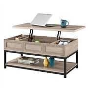 Rustic Wood Lift Top Coffee Table W/hidden Compartments Bottom Open Shelf Gray