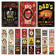 Party Bbq Metal Tin Signs Pork Grill Retro Vintage Classic Poster Wall Plaques