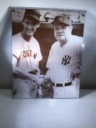 """Mlb Babe Ruth Ted Williams 1943 Fenway Park 11""""x13"""" Photo With Protective Sleeve"""