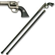 American Revolver Pistol Walking Cane Staff Mobility Stick Rubber Foot