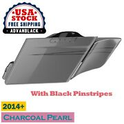 Charcoal Pearl Extended Stretched Saddlebag Side Cover Pinstripes For Harley 14+