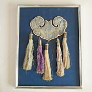 Antique Chinese China Qing Silk Embroidery Badge Belt Hanger Pouch Purse 19thc