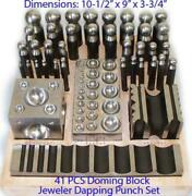 41 Pieces Jeweller Doming Block Dapping Punch Set Used By Goldsmith