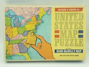 Vintage Us Map Puzzle - Rand Mcnally - Die Cut On State Lines - Size 21 X 14