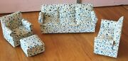 Vintage Doll House Furniture Lot Of Floral Coach Loveseat Chair And Ottoman Wooden