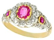 Antique Victorian Synthetic Ruby Diamond 18carat Yellow Gold Dress Ring