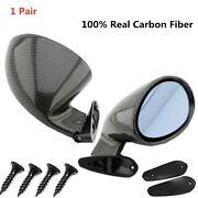 1pair Side View Car Mirrors Left And Right Carbon Fiber Vintage Sport Racing Style