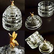 """Superb Rare Heavy Crystal Beehive Honey Pot With 24ct Gold Plated Bee 5"""", 940g"""