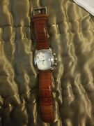 Technos Chronograph Watch 5 Atm Genuine Leather Please Note Missing 1 Dial