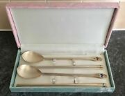 Unused Boxed Set Of 4 Chopsticks And 2 Spoons 800 Grade Enamel Solid Silver