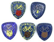 Vintage Lot Of 5 Cub Scout Handmade Bicycle Safety Program Neckerchief Slides