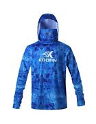 Performance Fishing Hoodie With Face Mask Hooded Sunblock Shirt Sun Shield Lo...