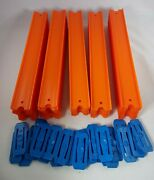 Qty 50 12 Straight Orange Track Pieces And 25 Blue Connectors Hot Wheels 2013