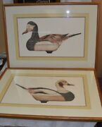 Two Vintage Arthur Nevin Aquatint Old Squaw Drake Decoy Etchings Limited Edition
