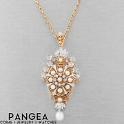Ant. Victorian 14k White And Yellow Gold Diamond Pearl Rosette Pin Pendant 0.75ctw