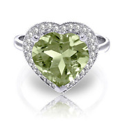 3.24 Ctw Platinum Plated 925 Sterling Silver Ring Diamond Heart Green Amethyst