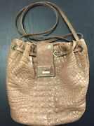 Jimmy Choo Stamped Mock Croc Leather Nude Handbag With Dust Bag - Classy