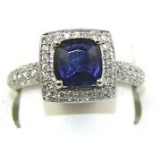 Natural Cushion Blue Sapphire And Diamond Solitaire Ring 14k White Gold 3.36ct