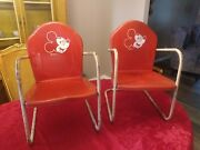 Vtg 1950's Metal Mickey Mouse Walt Disney Productions Children's Chairs 2