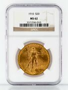 1910 20 Gold St. Gaudens Double Eagle Graded By Ngc As Ms-62