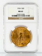 1924 20 Gold St. Gaudens Double Eagle Graded By Ngc As Ms-63