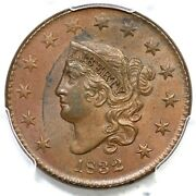 1832 N-3 R-2 Pcgs Ms 64 Bn Lg Letters Matron Or Coronet Head Large Cent Coin 1c