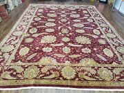 9and039 X 12and039 Vintage Fine Hand Made Indian Agra Wool Rug Red Wow