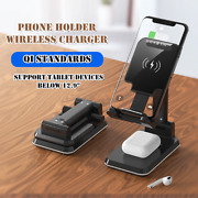 Qi Dual Wireless Charger Bracket Telescopic Folding Phone Holder Tablet 2 In 1