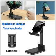 Qi Fast Wireless Mobile Phone Charger Desktop 2-in-1 Tablet Bracket Holder Stand