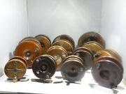 A Collection Of 14 Late 19th C / Early 20th C Wood And Brass Fishing Reels