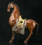 13.2 Old Chinese Red Copper Gilt Dynasty Zodiac Animal Horse Success Statue A1