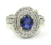 Natural Oval Blue Sapphire And Diamond Halo Solitaire Ring 14k White Gold 2.23ct