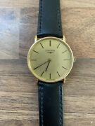 Vintage Genuine Longines Gold Conquest Mens Mechanical Wound Watch Leather Strap