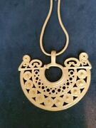Pre Colombian Jewelry-- Gilded Pendant Necklace