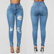Womenand039s Ladies High Waist Skinny Ripped Hole Jeans Pants Casual Denim Trousers