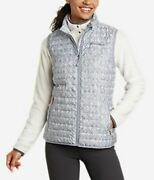 New Eddie Bauer Womenand039s Microlight Down Vest Nwt Size Lg/med/sm/blue/ Black/teal