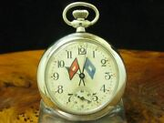 Nickel Silver Open Face Pocket Watch With Boy Scout Pendant/diameter 500 Mm