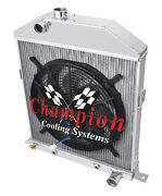 1942,1943,1944,1945-48 Ford/mercury Coupe Radiator And 16 Fan Chevy Config 2 Row