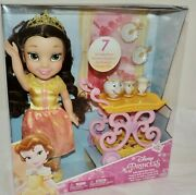 New Disney Princess Belle Toddler Doll With 7-pc Tea Set - Small Tear In Pkg,