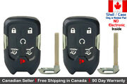 2x New Replacement Keyless Key Fob Case For Chevy Gmc Smart Proximity - Shell